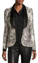Prabal Gurung Metallic Jacquard Tuxedo Jacket, Silver