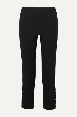 Lela Rose Cropped Crystal-embellished Wool-blend Crepe Straight-leg Pants - Black