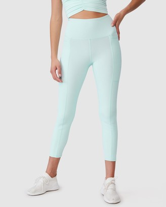 Cotton On Body Active - Women's Green Tights - Rib Pocket 7-8 Tights - Size S at The Iconic