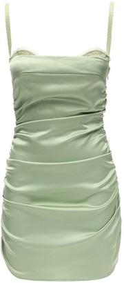 Danielle Guizio Ruched Satin & Lace Corset Dress