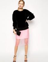 Asos Pencil Skirt With Sheer Layer