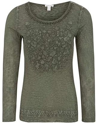 Tribal Long Sleeve Embroidered Top (Hunter) Women's Long Sleeve Pullover