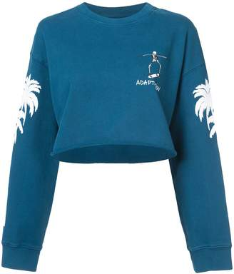 Adaptation cropped tree print sweatshirt