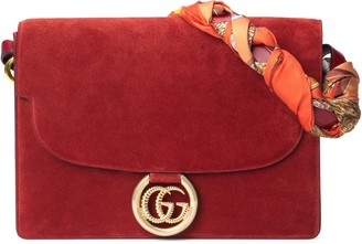 Gucci Medium GG Ring Suede Shoulder Bag with Horse & Tassel Foulard Scarf