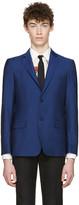 Alexander McQueen Blue Mohair Two-Button Blazer