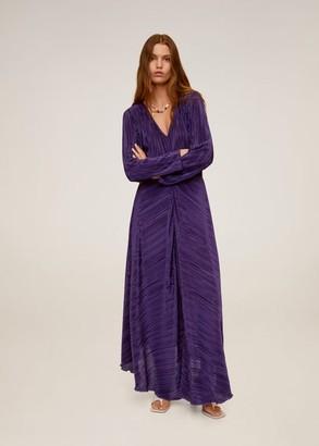 MANGO Pleated long dress purple - 4 - Women