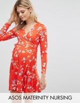 Asos TALL NURSING Wrap Skater Dress In Floral Print