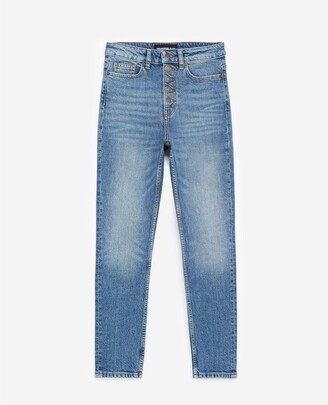 The Kooples Blue faded jeans with visible buttons