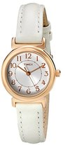 Timex Women's T2P4319J Main Street Modern Minis Rose Gold-Tone Watch with White Leather Band