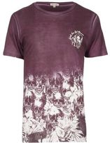 River Island Dark Red Fade Skull Fade Print Washed T-shirt