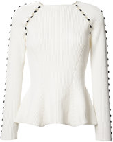 Carolina Herrera button up rib knit jumper - women - Cotton/Spandex/Elastane/Polyimide - S