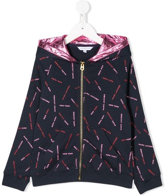 The Marc Jacobs Kids All-Over Logo Zip-Up Hoodie