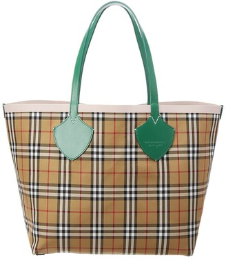 Burberry The Giant Reversible Vintage Check & Leather Tote