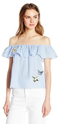 Amy Byer A. Byer Women's Off The Shoulder Striped Top with Patches