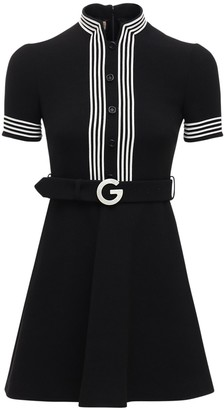 Gucci Belted Light Wool Crepe Mini Dress