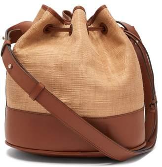 Hunting Season Raffia And Leather Bucket Bag - Womens - Tan Multi