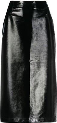 VIVETTA Faux Leather Midi Skirt