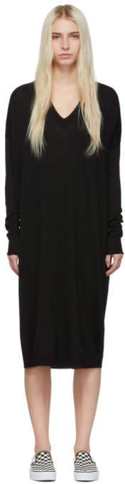 6397 Black Merino Wool V-Neck Dress