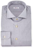 Kiton Menswear Solid Poplin Dress Shirt, Gray