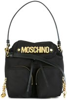 Moschino logo plaque backpack tote