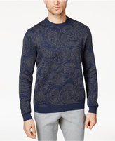 Tasso Elba Men's Paisley Supima® Cotton Sweater with Faux-Suede Elbow Patches, Created for Macy's