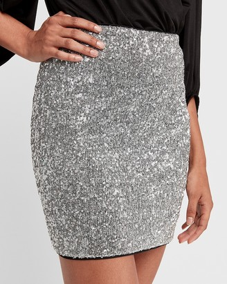 Express High Waisted All-Over Sequin Mini Skirt