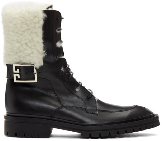 Givenchy Black Shearling Aviator Combat Boots