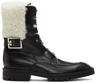 Givenchy Black Shearling Aviator Combat Boots
