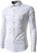 Vogholic Men's Vintage Minimal Design Fitted Plaided Business Casual Shirts(W,L)