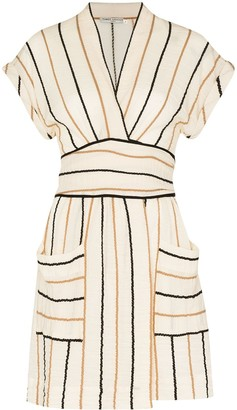 Three Graces Aurora stripe-pattern mini dress