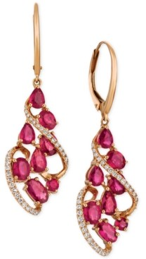 LeVian Le Vian Certified Passion Ruby (3-1/3 ct. t.w.) & Diamond (1/3 ct. t.w.) Drop Earrings in 14k Rose Gold