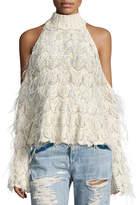 Jonathan Simkhai Sparkle Knit Feathered Cold-Shoulder Turtleneck Sweater
