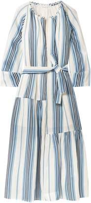 Apiece Apart Stella Striped Linen And Silk-blend Midi Dress