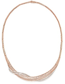 Bloomingdale's Diamond Round & Baguette Collar Necklace in 14K Rose & White Gold, 3.60 ct. t.w. - 100% Exclusive