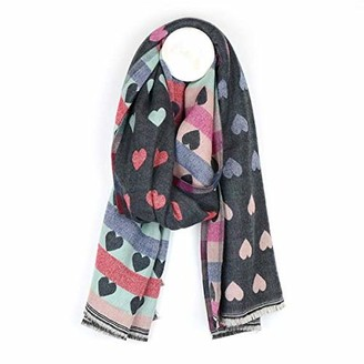 Pom Boutique Reversible pastel and mid grey jacquard heart scarf