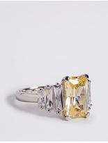 M&S Collection Platinum Plated Diamanté Baguette Ring