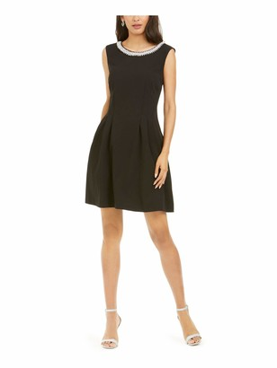 Connected Apparel Womens Black Embellished Sleeveless Jewel Neck Short Fit + Flare Party Dress UK Size:12