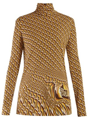 Prada Roll-neck Geometric-print Jersey Top - Womens - Brown Multi