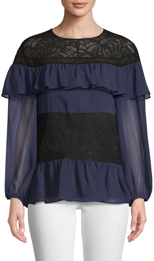BCBGMAXAZRIA Silk Chiffon Top