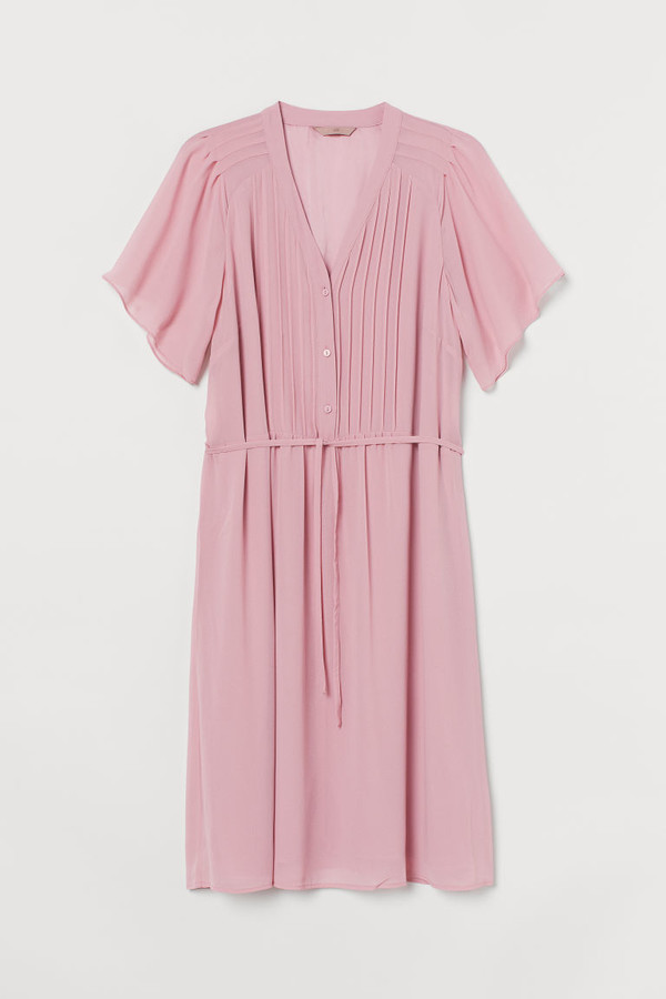 H&M H&M+ Pin-tuck Dress - Pink