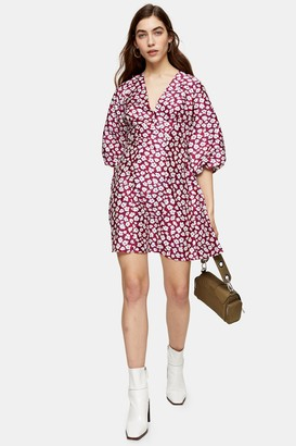 Topshop Womens Petite Daisy Floral Print Puff Mini Dress - Multi