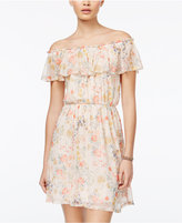 Sequin Hearts Juniors' Floral-Print Off-The-Shoulder Dress