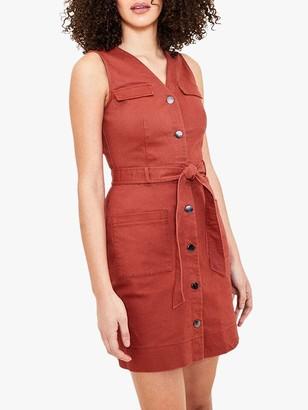Oasis Popper Utility Dress, Soft Orange
