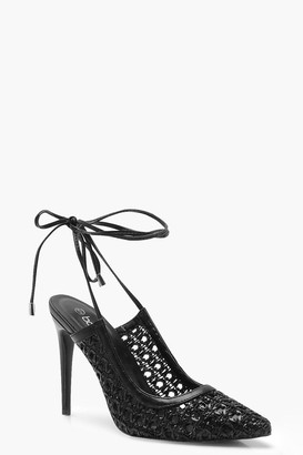 boohoo Woven Wrap Pointed Court Shoe Heels