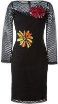Moschino fishnet flower patch dress