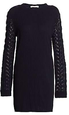 See by Chloe Women's Plissé Jersey Mesh Cable Knit-Trim Sweater Dress