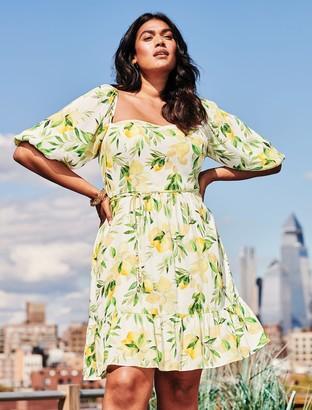 Forever New Mary Curve Puff-Sleeve Mini Dress - Summer Lemons - 16