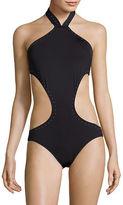 Vince Camuto Pacific Coast Studded High Neck Monokini Swimsuit