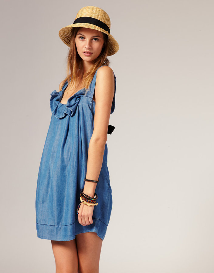 Ganni Chambray Dress With Bow Detail