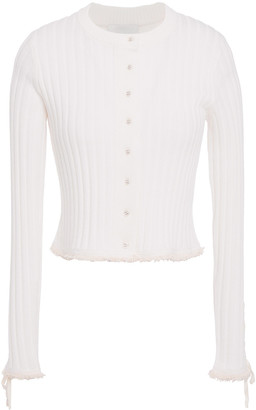 3.1 Phillip Lim Cropped Lace-up Ribbed Wool-blend Cardigan